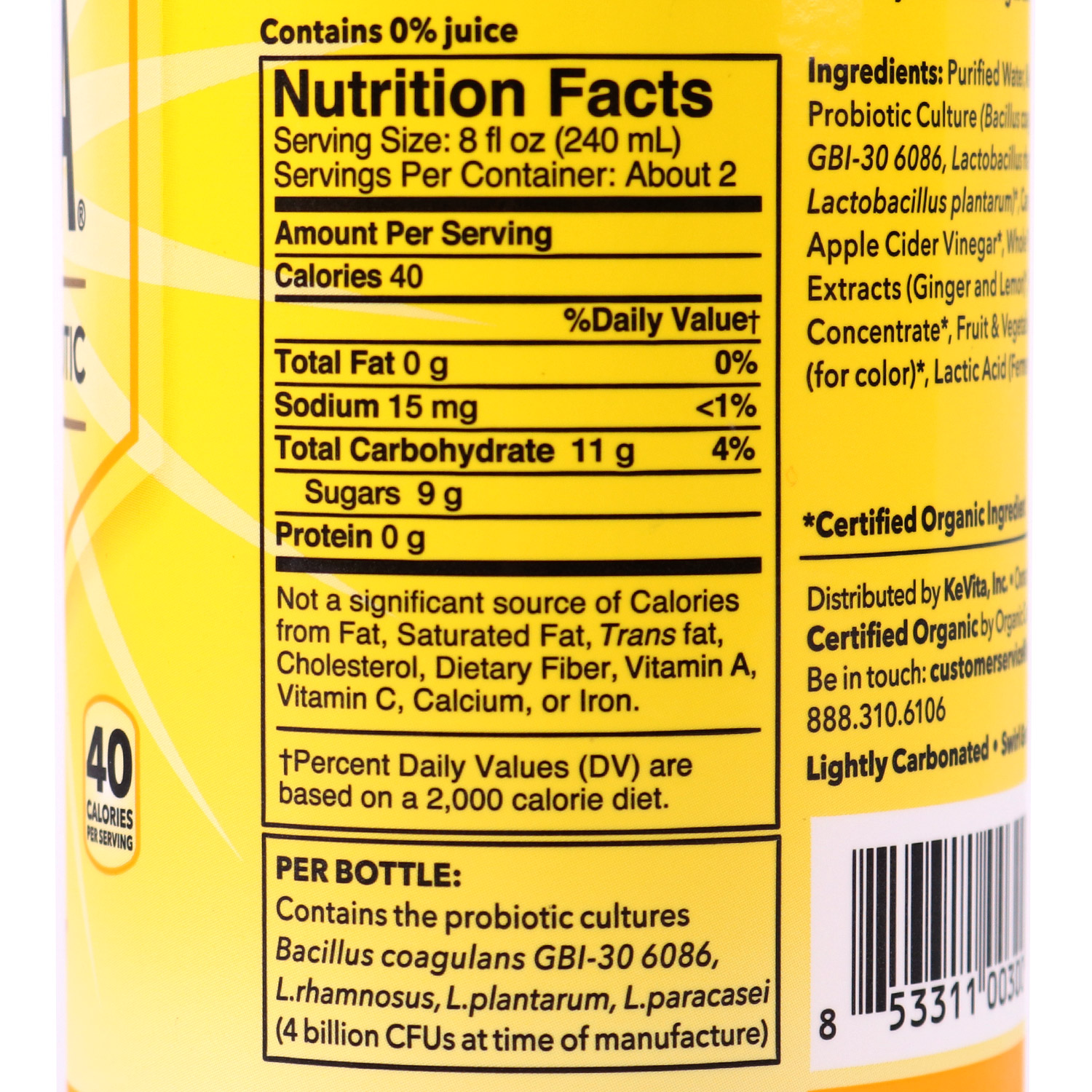 Sparkling Probiotic Drink, Lemon Ginger-Organic