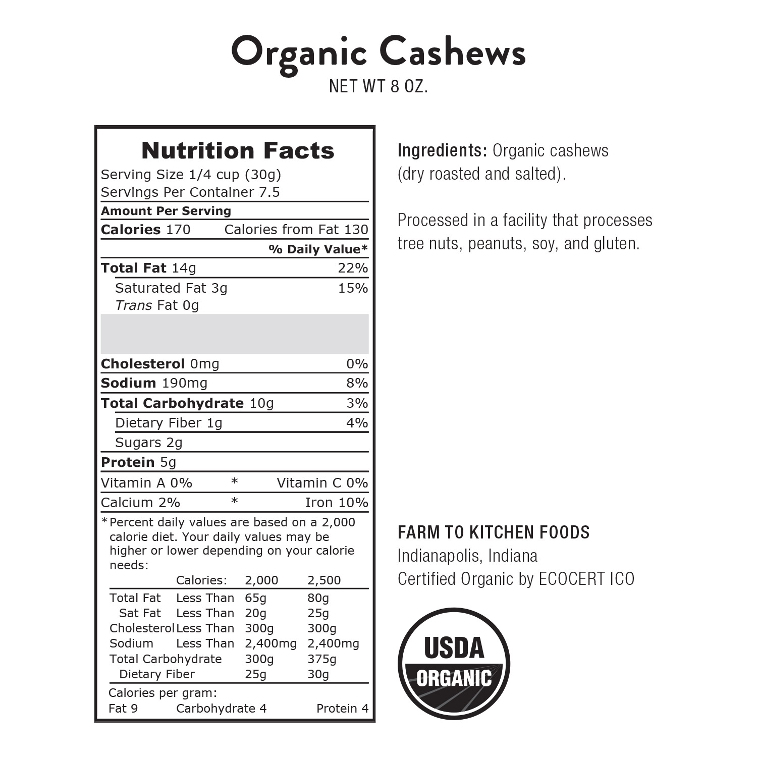 Cashews, Whole Salted-Organic