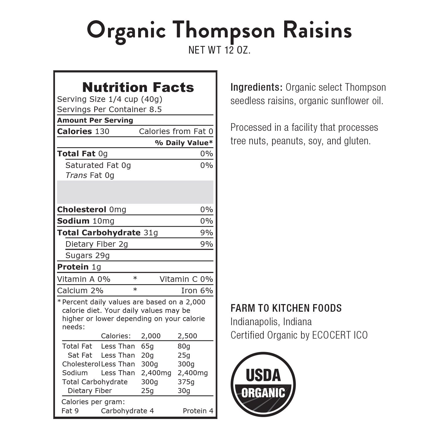 Raisins, Thompson-Organic