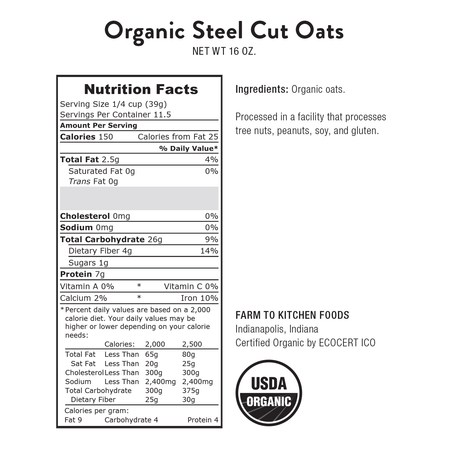 Oats, Steel Cut-Organic