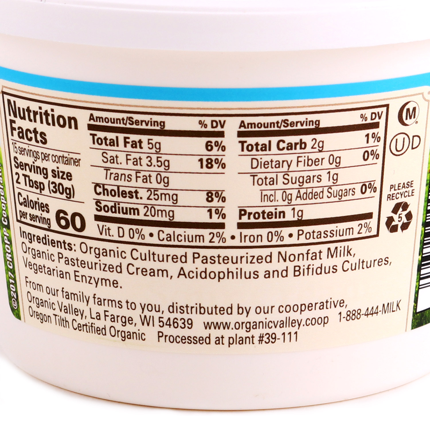 Tub, Sour Cream, 4% 16 oz-Organic