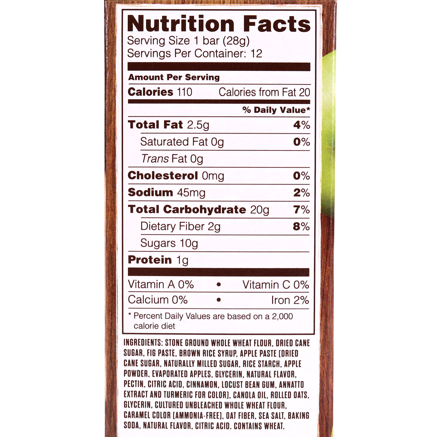 Fig Bar, Whole Wheat Apple Cinnamon-6pk