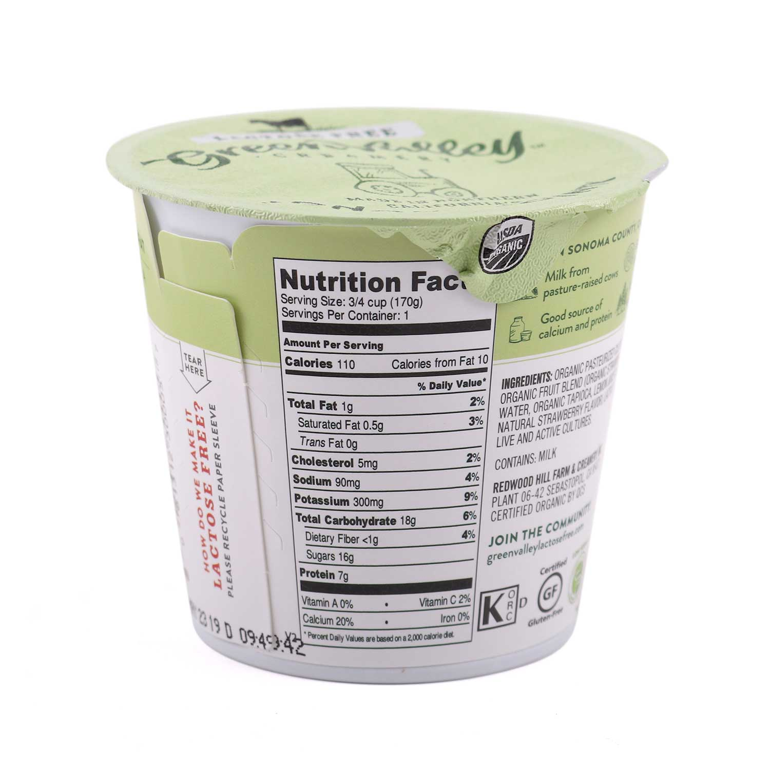 Lactose Free - Lowfat Yogurt Cup, Strawberry-Organic