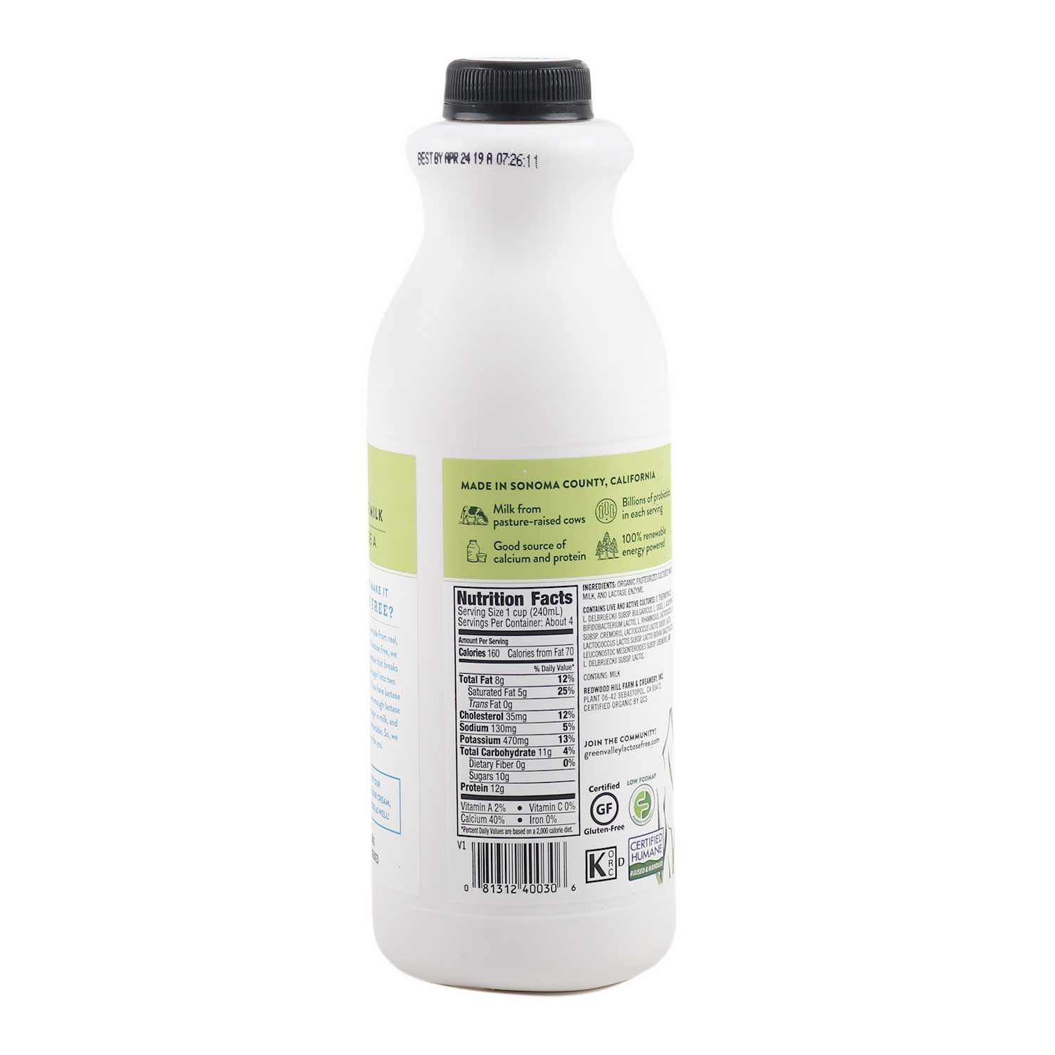 Lactose Free - Whole Milk Kefir, Plain-Organic