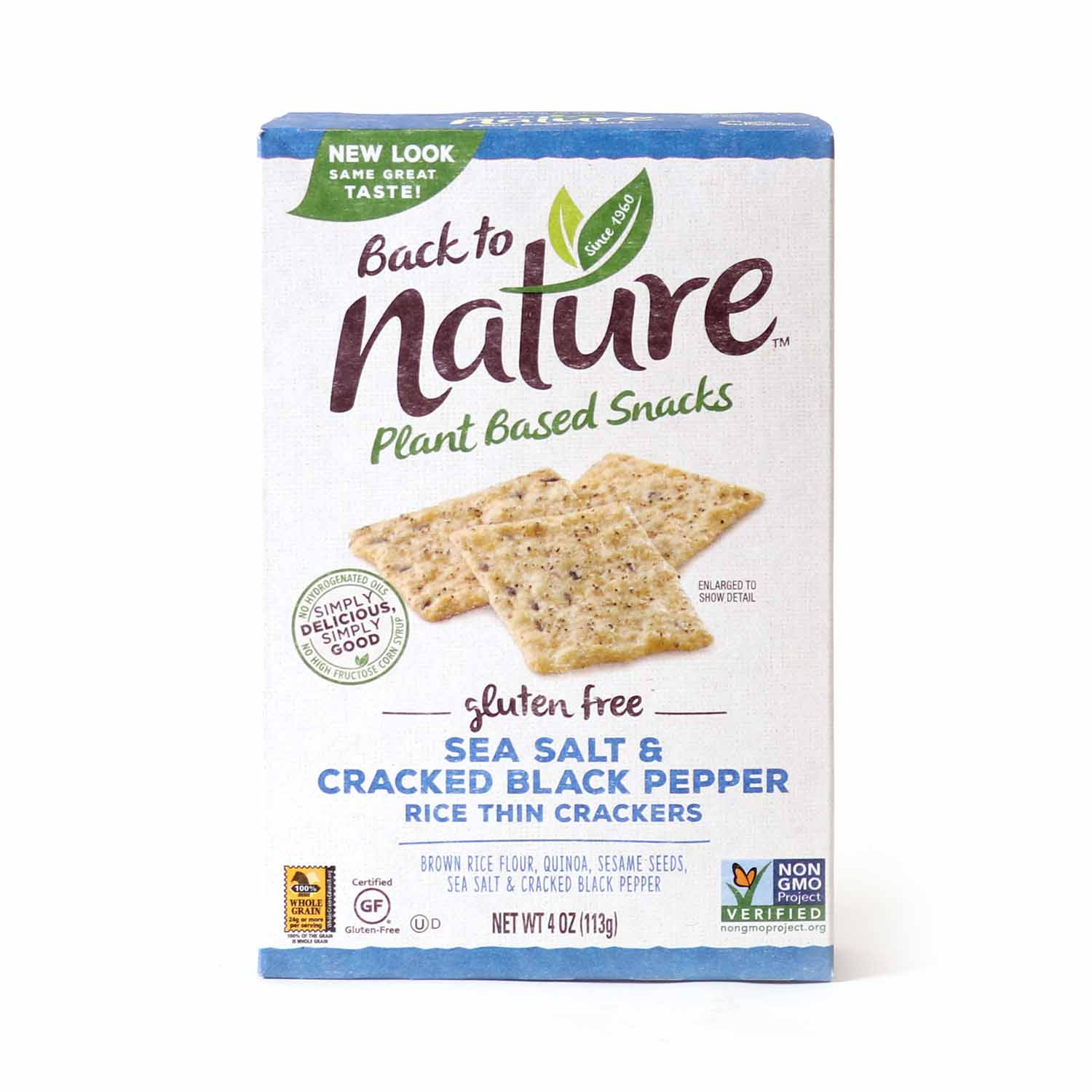 Rice Thin Crackers, Sea Salt & Cracked Pepper-Gluten Free
