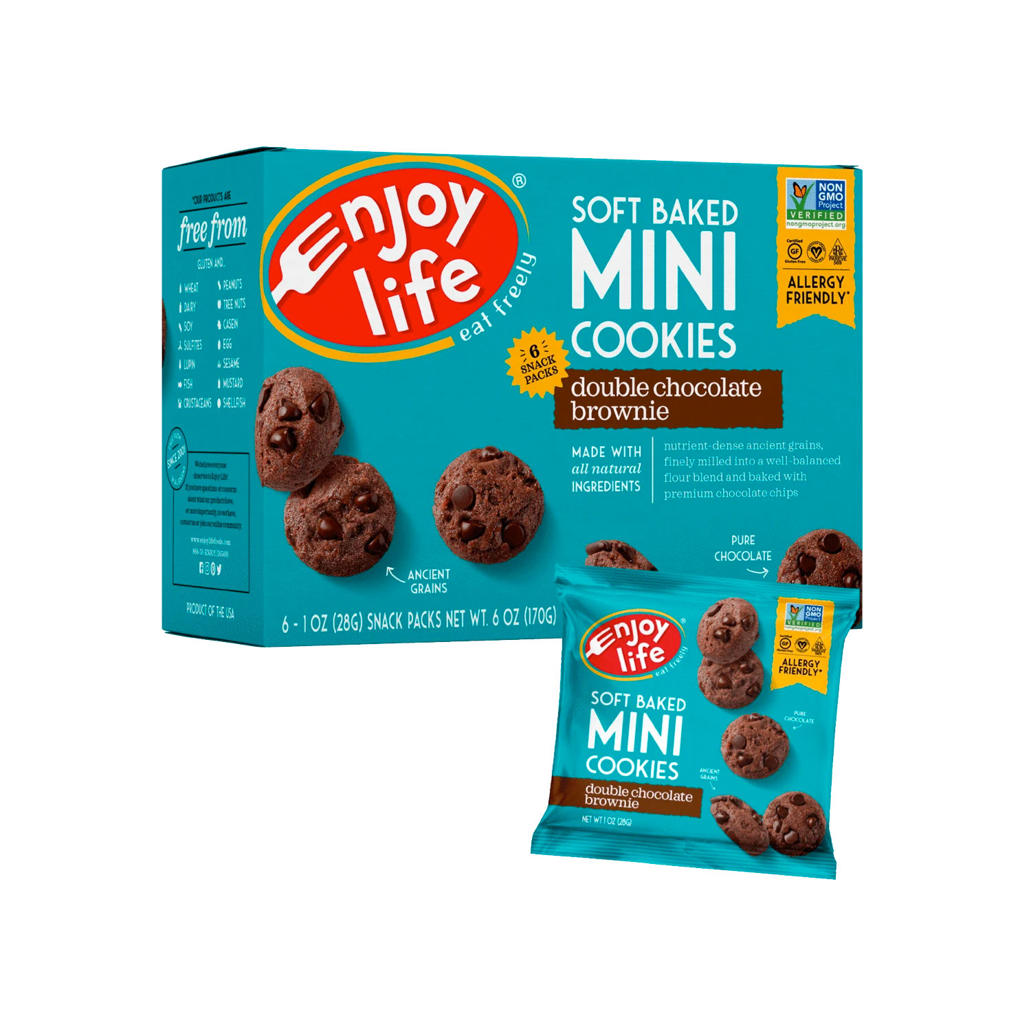 Soft Baked Cookies, MINI Double Chocolate -Gluten Free