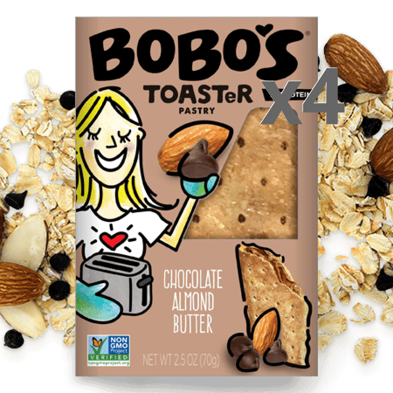 Bobo's Chocolate Almond Butter Toaster Pastry 4-Pack