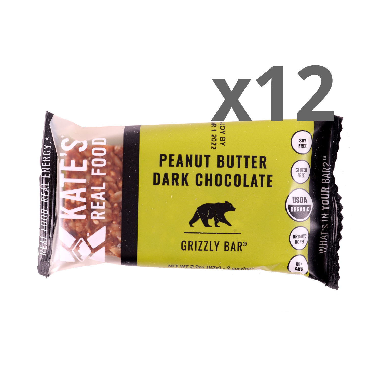 Kate's Real Food Peanut Butter Dark Chocolate Bars - Case