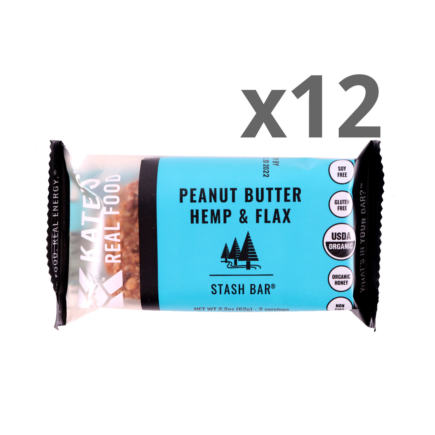Kate's Real Food Peanut Butter & Flax Bars - Case
