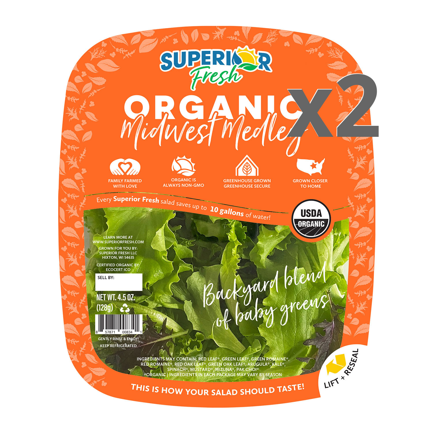 Greens, Midwest Medley-Organic (2-Pack)
